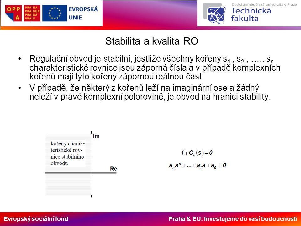 Evropský sociální fond Praha & EU: Investujeme do vaší budoucnosti Stabilita a kvalita RO Regulační obvod je stabilní, jestliže všechny kořeny s 1, s 2, …..