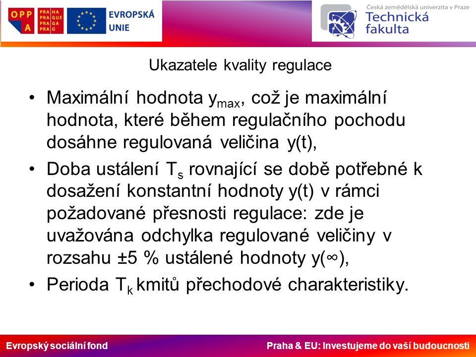 Evropský sociální fond Praha & EU: Investujeme do vaší budoucnosti Ukazatele kvality regulace Maximální hodnota y max, což je maximální hodnota, které během regulačního pochodu dosáhne regulovaná veličina y(t), Doba ustálení T s rovnající se době potřebné k dosažení konstantní hodnoty y(t) v rámci požadované přesnosti regulace: zde je uvažována odchylka regulované veličiny v rozsahu ±5 % ustálené hodnoty y(∞), Perioda T k kmitů přechodové charakteristiky.