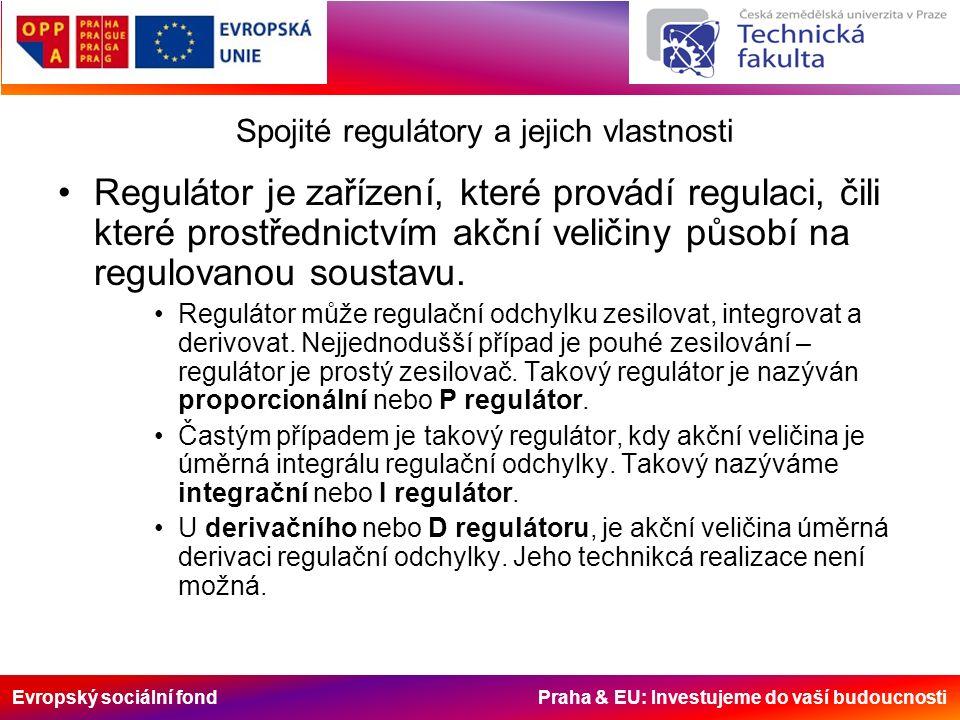 Evropský sociální fond Praha & EU: Investujeme do vaší budoucnosti Spojité regulátory a jejich vlastnosti Regulátor je zařízení, které provádí regulaci, čili které prostřednictvím akční veličiny působí na regulovanou soustavu.