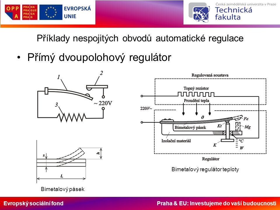 Evropský sociální fond Praha & EU: Investujeme do vaší budoucnosti Příklady nespojitých obvodů automatické regulace Přímý dvoupolohový regulátor Bimetalový pásek Bimetalový regulátor teploty