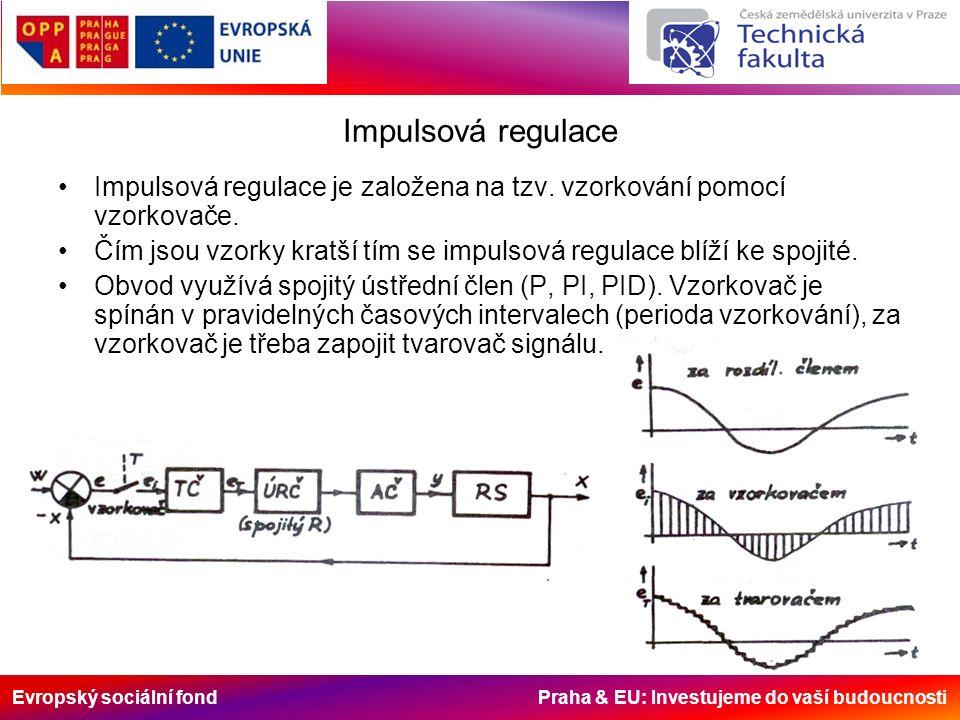 Evropský sociální fond Praha & EU: Investujeme do vaší budoucnosti Impulsová regulace Impulsová regulace je založena na tzv.