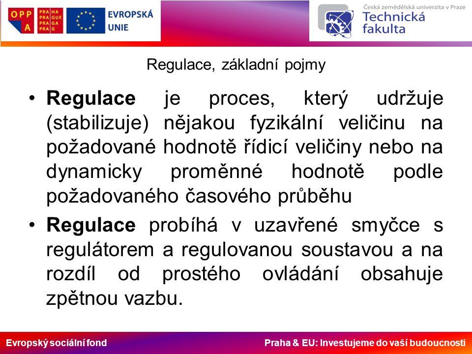 Evropský sociální fond Praha & EU: Investujeme do vaší budoucnosti Regulace, základní pojmy Každá regulace se skládá ze tří dílčích procesů: –Měření regulované veličiny; –Porovnání regulované a řídicí veličiny; –Korekce řízení zaváděním akčních veličin regulátorů do akčních členů a působení na regulovanou soustavou, případně nastavení parametrů regulátoru na optimální režim regulace podle stanovených kritérií kvality regulačních procesů.