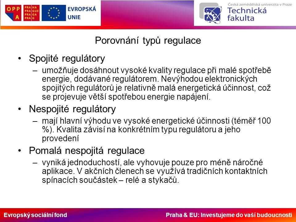 Evropský sociální fond Praha & EU: Investujeme do vaší budoucnosti Porovnání typů regulace Spojité regulátory –umožňuje dosáhnout vysoké kvality regulace při malé spotřebě energie, dodávané regulátorem.