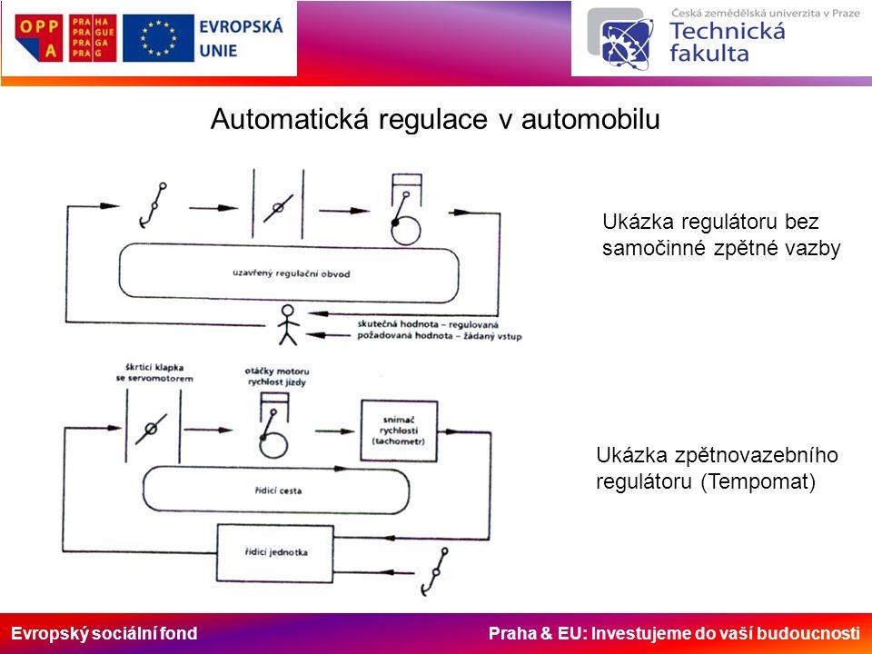 Evropský sociální fond Praha & EU: Investujeme do vaší budoucnosti Automatická regulace v automobilu Ukázka regulátoru bez samočinné zpětné vazby Ukázka zpětnovazebního regulátoru (Tempomat)