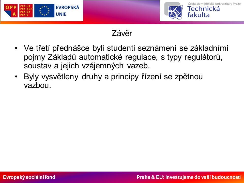 Evropský sociální fond Praha & EU: Investujeme do vaší budoucnosti Závěr Ve třetí přednášce byli studenti seznámeni se základními pojmy Základů automatické regulace, s typy regulátorů, soustav a jejich vzájemných vazeb.