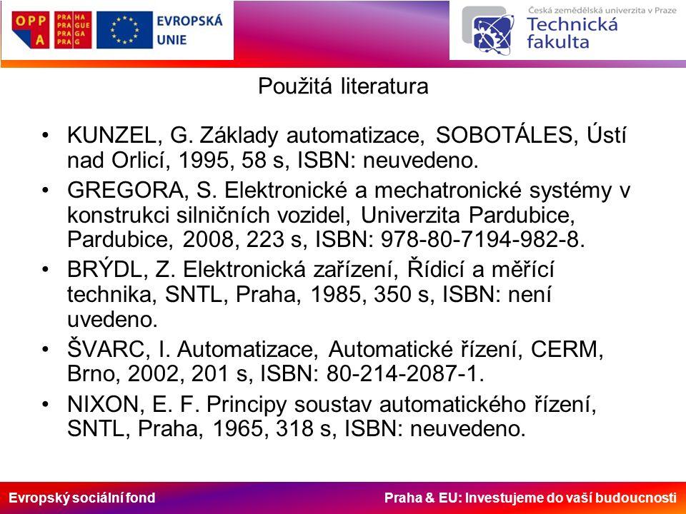 Evropský sociální fond Praha & EU: Investujeme do vaší budoucnosti Použitá literatura KUNZEL, G.