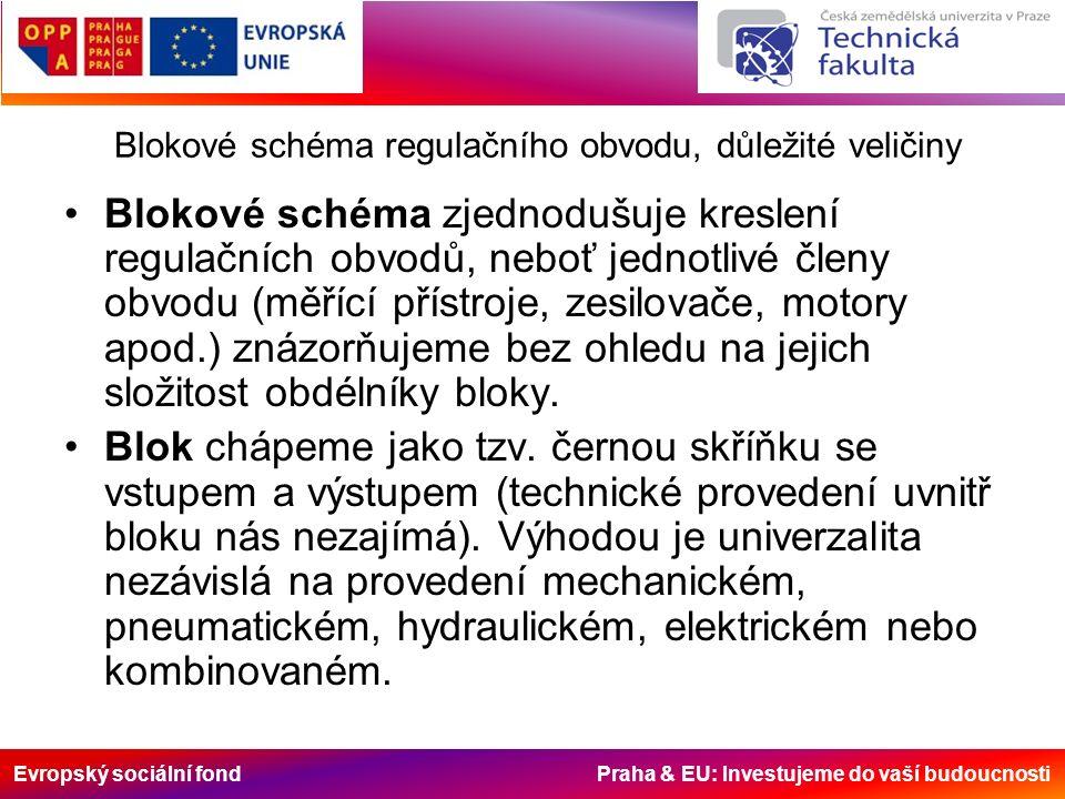 Evropský sociální fond Praha & EU: Investujeme do vaší budoucnosti Blokové schéma regulačního obvodu, důležité veličiny Blokové schéma zjednodušuje kreslení regulačních obvodů, neboť jednotlivé členy obvodu (měřící přístroje, zesilovače, motory apod.) znázorňujeme bez ohledu na jejich složitost obdélníky bloky.
