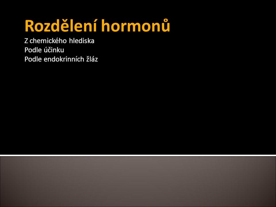 Rozdělení hormonů Z chemického hlediska Podle účinku Podle endokrinních žláz