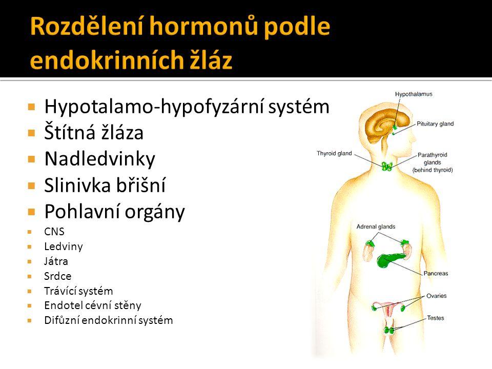  Hypotalamo-hypofyzární systém  Štítná žláza  Nadledvinky  Slinivka břišní  Pohlavní orgány  CNS  Ledviny  Játra  Srdce  Trávící systém  Endotel cévní stěny  Difůzní endokrinní systém