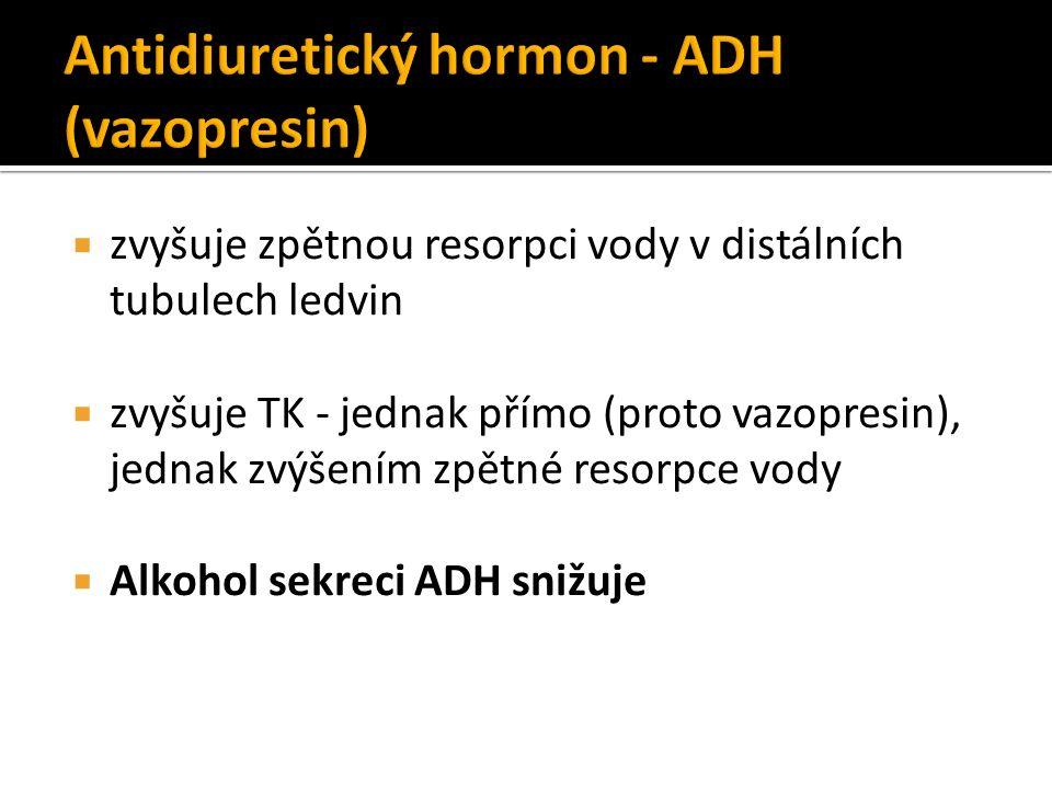  zvyšuje zpětnou resorpci vody v distálních tubulech ledvin  zvyšuje TK - jednak přímo (proto vazopresin), jednak zvýšením zpětné resorpce vody  Alkohol sekreci ADH snižuje