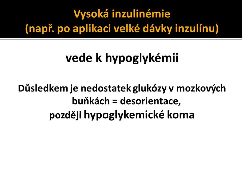 vede k hypoglykémii Důsledkem je nedostatek glukózy v mozkových buňkách = desorientace, později hypoglykemické koma