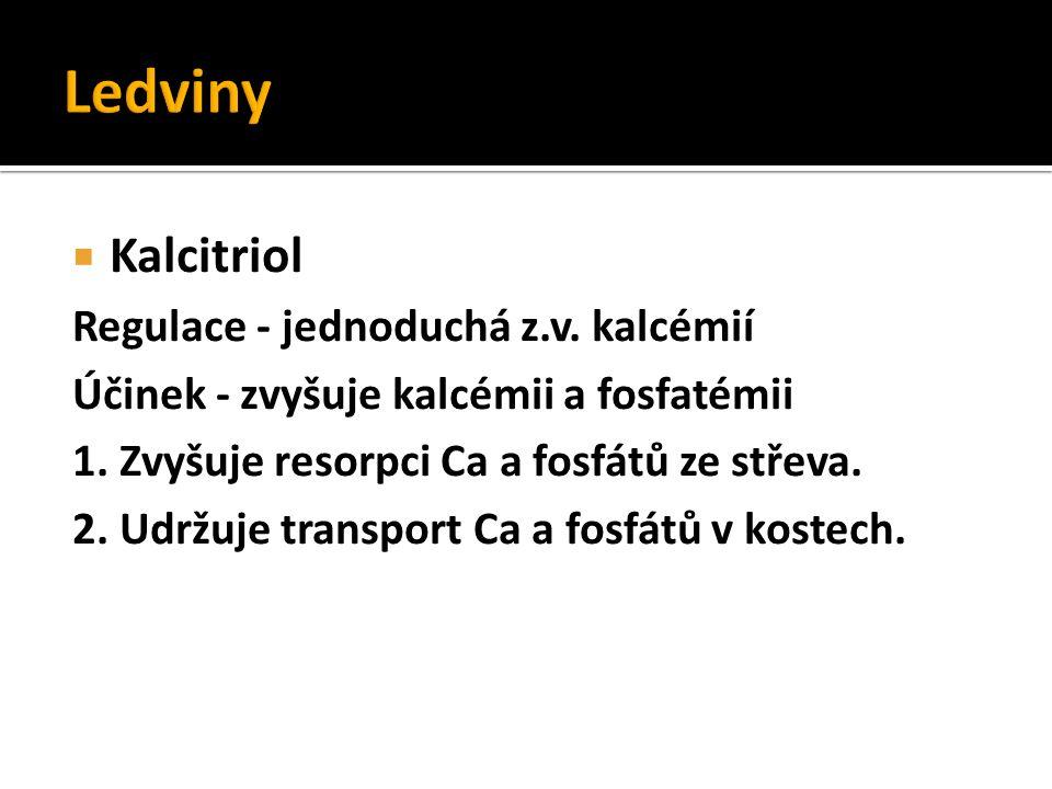  Kalcitriol Regulace - jednoduchá z.v. kalcémií Účinek - zvyšuje kalcémii a fosfatémii 1. Zvyšuje resorpci Ca a fosfátů ze střeva. 2. Udržuje transpo