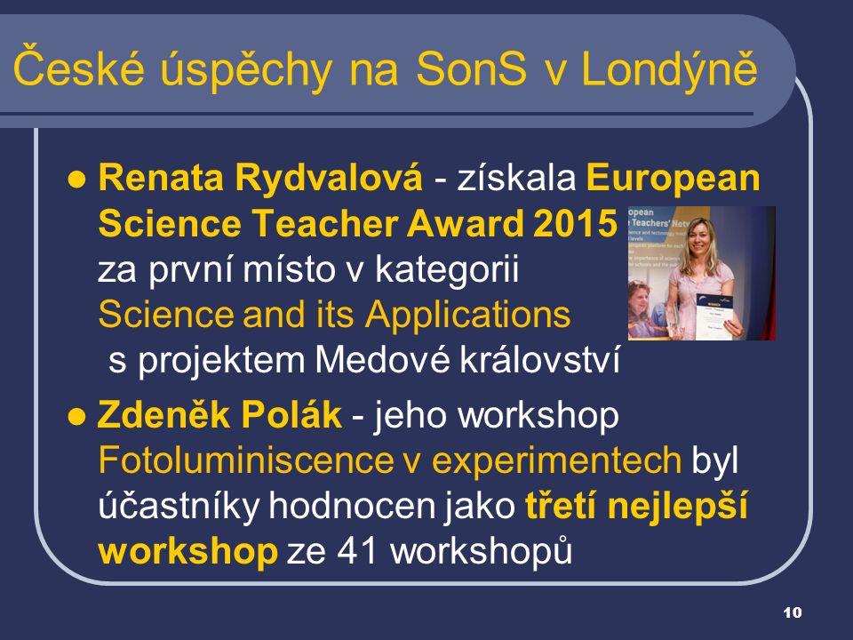 Renata Rydvalová - získala European Science Teacher Award 2015 za první místo v kategorii Science and its Applications s projektem Medové království Z