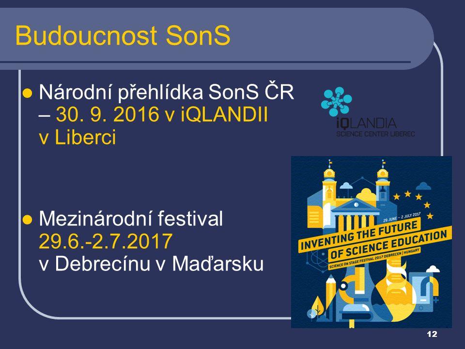 12 Národní přehlídka SonS ČR – 30. 9. 2016 v iQLANDII v Liberci Mezinárodní festival 29.6.-2.7.2017 v Debrecínu v Maďarsku Budoucnost SonS