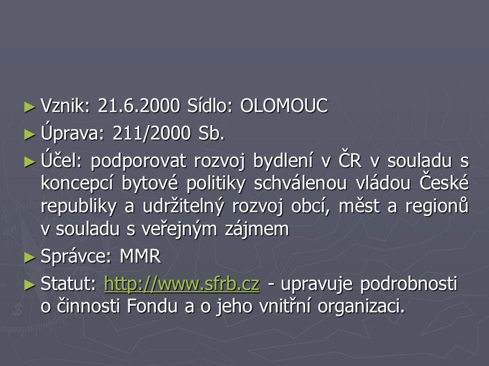 ► Vznik: 21.6.2000 Sídlo: OLOMOUC ► Úprava: 211/2000 Sb.