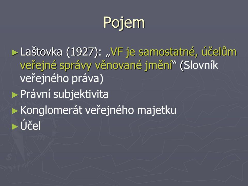 """Pojem ► Laštovka (1927): """"VF je samostatné, účelům veřejné správy věnované jmění ( ► Laštovka (1927): """"VF je samostatné, účelům veřejné správy věnované jmění (Slovník veřejného práva) ► ► Právní subjektivita ► ► Konglomerát veřejného majetku ► ► Účel"""