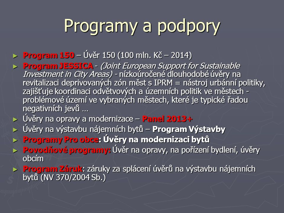 Programy a podpory ► Program 150 – Úvěr 150 (100 mln.