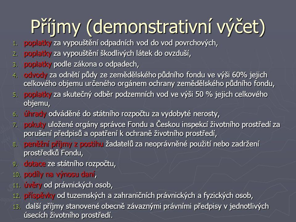 Příjmy (demonstrativní výčet) 1. poplatky za vypouštění odpadních vod do vod povrchových, 2.