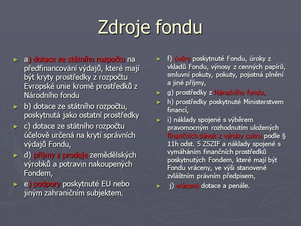 Zdroje fondu ► a) dotace ze státního rozpočtu na předfinancování výdajů, které mají být kryty prostředky z rozpočtu Evropské unie kromě prostředků z Národního fondu ► b) dotace ze státního rozpočtu, poskytnutá jako ostatní prostředky ► c) dotace ze státního rozpočtu účelově určená na krytí správních výdajů Fondu, ► d) příjmy z prodeje zemědělských výrobků a potravin nakoupených Fondem, ► e) podpory poskytnuté EU nebo jiným zahraničním subjektem, ► f) úvěry poskytnuté Fondu, úroky z vkladů Fondu, výnosy z cenných papírů, smluvní pokuty, pokuty, pojistná plnění a jiné příjmy, ► g) prostředky z Národního fondu, ► h) prostředky poskytnuté Ministerstvem financí, ► i) náklady spojené s výběrem pravomocným rozhodnutím uložených finančních dávek z výroby cukru podle § 11h odst.