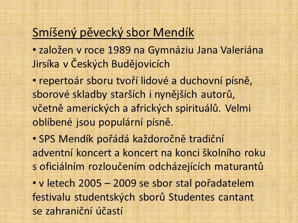 Smíšený pěvecký sbor Mendík založen v roce 1989 na Gymnáziu Jana Valeriána Jirsíka v Českých Budějovicích repertoár sboru tvoří lidové a duchovní písn