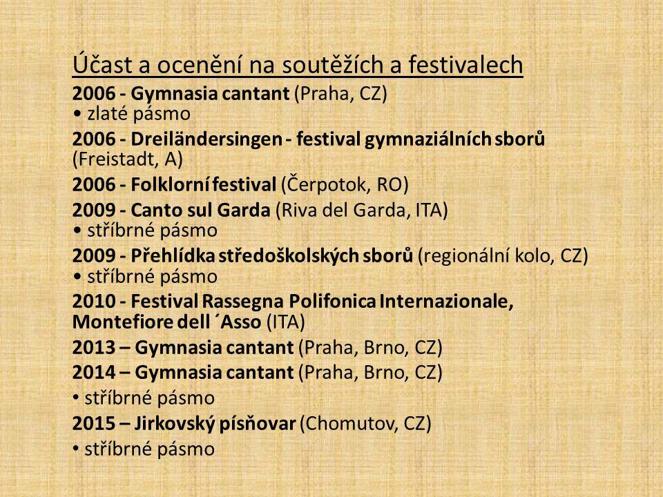 Účast a ocenění na soutěžích a festivalech 2006 - Gymnasia cantant (Praha, CZ) zlaté pásmo 2006 - Dreiländersingen - festival gymnaziálních sborů (Freistadt, A) 2006 - Folklorní festival (Čerpotok, RO) 2009 - Canto sul Garda (Riva del Garda, ITA) stříbrné pásmo 2009 - Přehlídka středoškolských sborů (regionální kolo, CZ) stříbrné pásmo 2010 - Festival Rassegna Polifonica Internazionale, Montefiore dell ´Asso (ITA) 2013 – Gymnasia cantant (Praha, Brno, CZ) 2014 – Gymnasia cantant (Praha, Brno, CZ) stříbrné pásmo 2015 – Jirkovský písňovar (Chomutov, CZ) stříbrné pásmo
