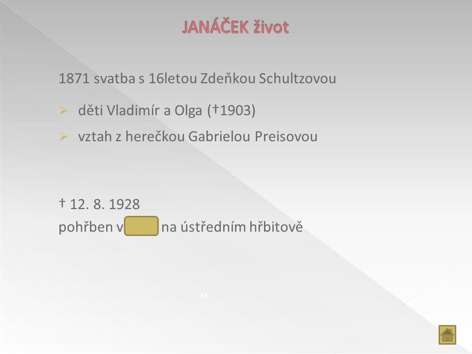 1871 svatba s 16letou Zdeňkou Schultzovou  děti Vladimír a Olga (†1903)  vztah z herečkou Gabrielou Preisovou † 12. 8. 1928 pohřben v Brně na ústřed