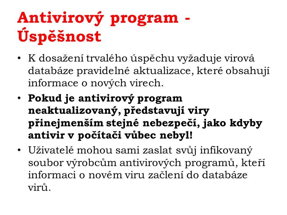Metody Při kontrole souboru antivirový program zjišťuje, zda se nějaká jeho část neshoduje s některým ze známých virů, které má zapsány v databázi.
