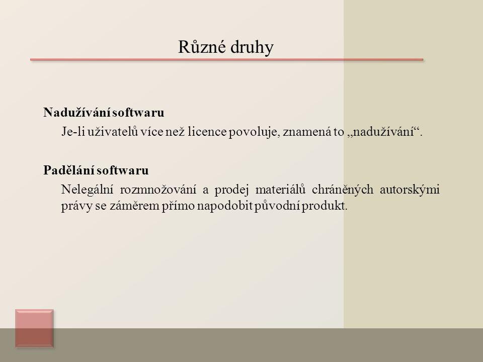 """Nadužívání softwaru Je-li uživatelů více než licence povoluje, znamená to """"nadužívání ."""