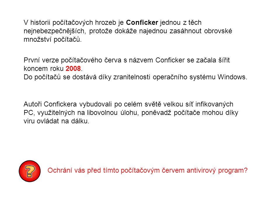 V historii počítačových hrozeb je Conficker jednou z těch nejnebezpečnějších, protože dokáže najednou zasáhnout obrovské množství počítačů.