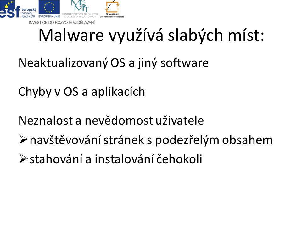 Malware využívá slabých míst: Neaktualizovaný OS a jiný software Chyby v OS a aplikacích Neznalost a nevědomost uživatele  navštěvování stránek s podezřelým obsahem  stahování a instalování čehokoli