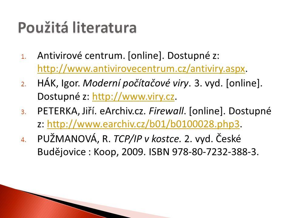1.Antivirové centrum. [online]. Dostupné z: http://www.antivirovecentrum.cz/antiviry.aspx.