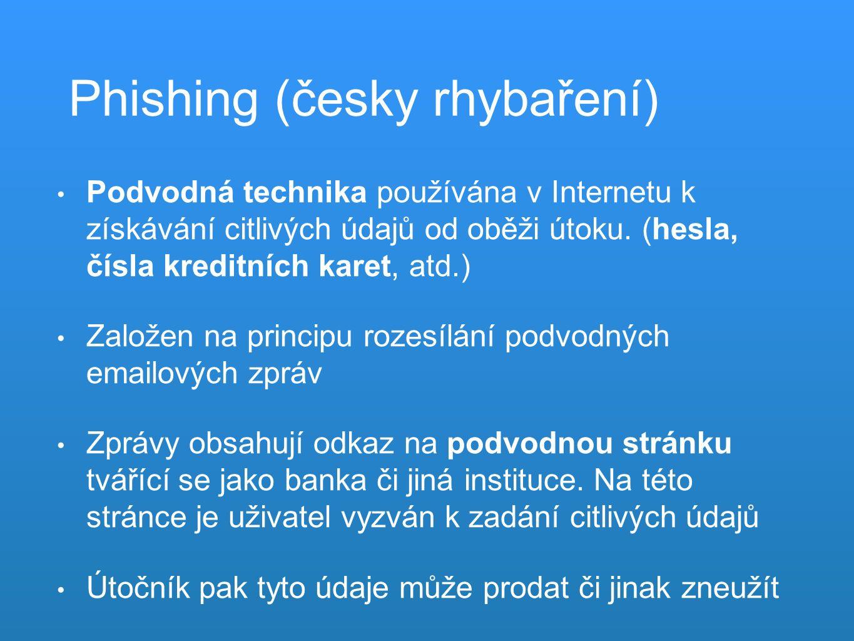 Phishing (česky rhybaření) Podvodná technika používána v Internetu k získávání citlivých údajů od oběži útoku.