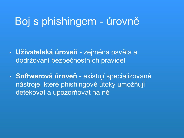 Boj s phishingem - úrovně Uživatelská úroveň - zejména osvěta a dodržování bezpečnostních pravidel Softwarová úroveň - existují specializované nástroje, které phishingové útoky umožňují detekovat a upozorňovat na ně