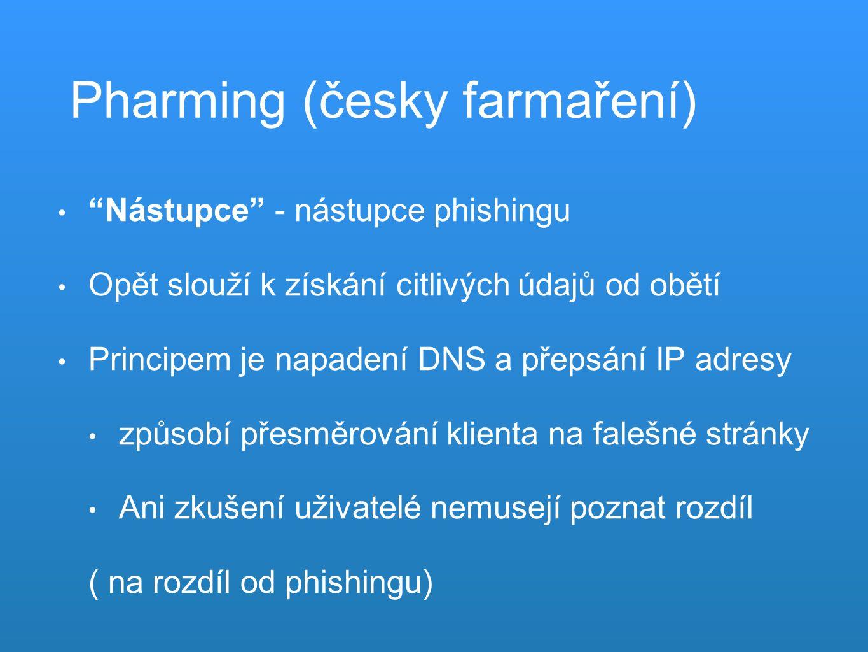 Pharming (česky farmaření) Nástupce - nástupce phishingu Opět slouží k získání citlivých údajů od obětí Principem je napadení DNS a přepsání IP adresy způsobí přesměrování klienta na falešné stránky Ani zkušení uživatelé nemusejí poznat rozdíl ( na rozdíl od phishingu)
