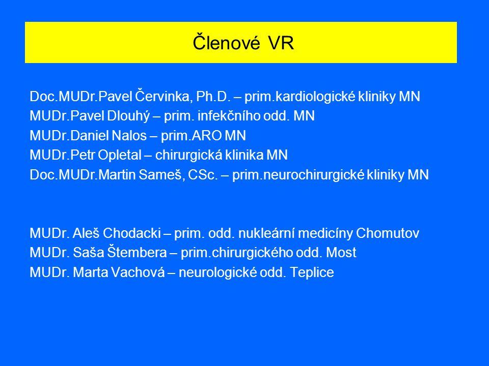 Členové VR Doc.MUDr.Pavel Červinka, Ph.D. – prim.kardiologické kliniky MN MUDr.Pavel Dlouhý – prim.