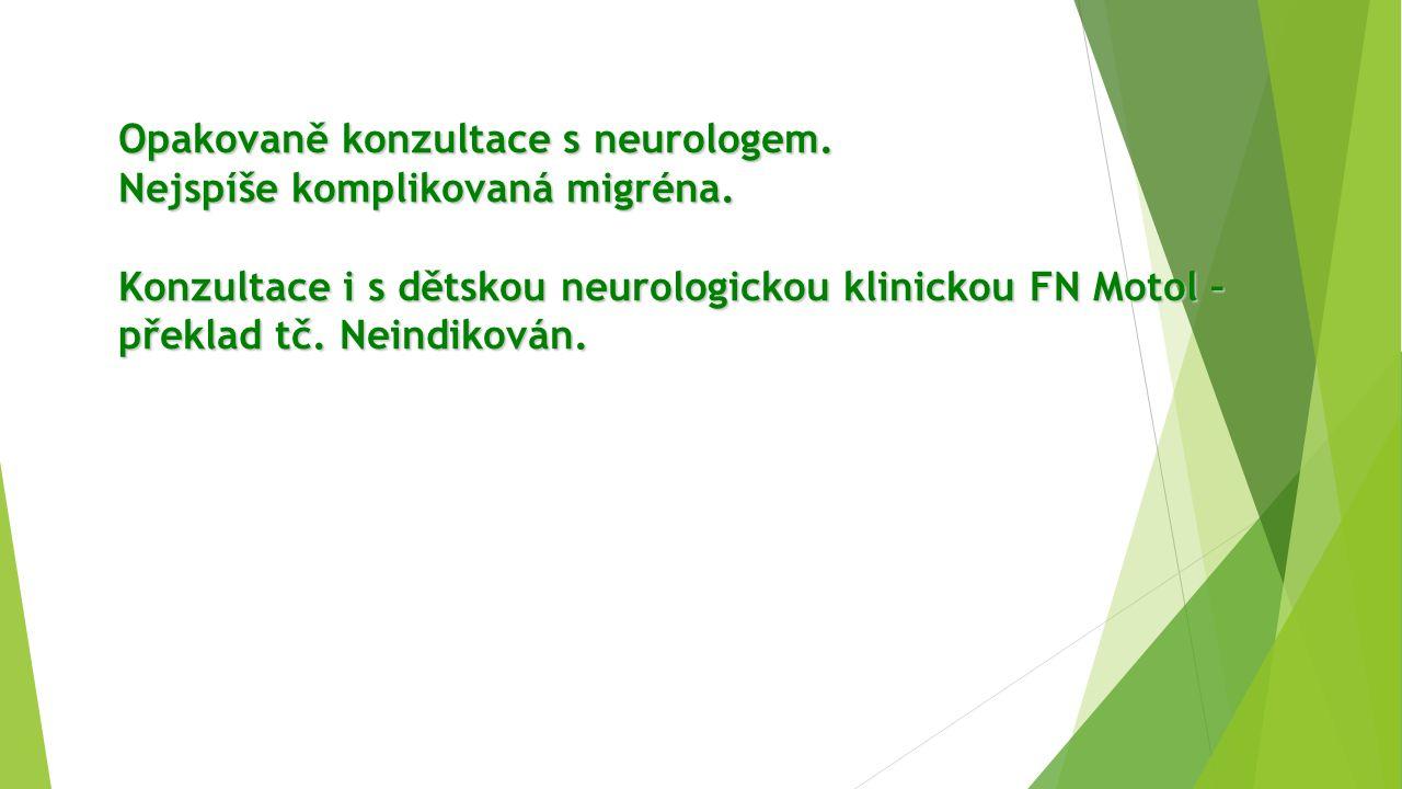 Opakovaně konzultace s neurologem. Nejspíše komplikovaná migréna.