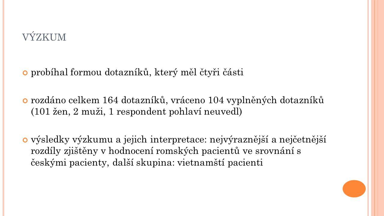 VÝZKUM probíhal formou dotazníků, který měl čtyři části rozdáno celkem 164 dotazníků, vráceno 104 vyplněných dotazníků (101 žen, 2 muži, 1 respondent pohlaví neuvedl) výsledky výzkumu a jejich interpretace: nejvýraznější a nejčetnější rozdíly zjištěny v hodnocení romských pacientů ve srovnání s českými pacienty, další skupina: vietnamští pacienti