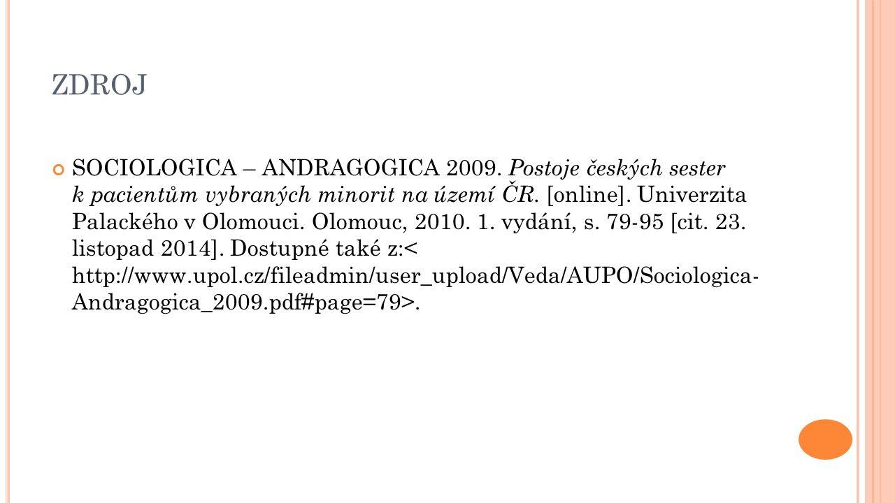 ZDROJ SOCIOLOGICA – ANDRAGOGICA 2009.