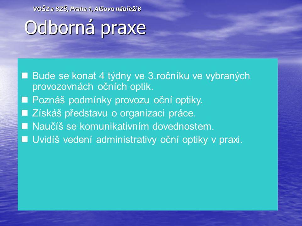 Odborná praxe Odborná praxe Bude se konat 4 týdny ve 3.ročníku ve vybraných provozovnách očních optik.