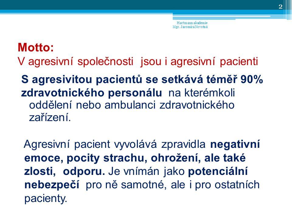 Motto: V agresivní společnosti jsou i agresivní pacienti S agresivitou pacientů se setkává téměř 90% zdravotnického personálu na kterémkoli oddělení nebo ambulanci zdravotnického zařízení.