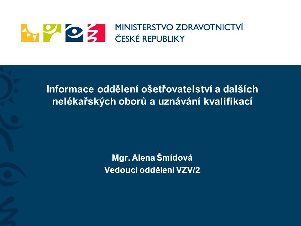 Mgr. Alena Šmídová Vedoucí oddělení VZV/2 Informace oddělení ošetřovatelství a dalších nelékařských oborů a uznávání kvalifikací
