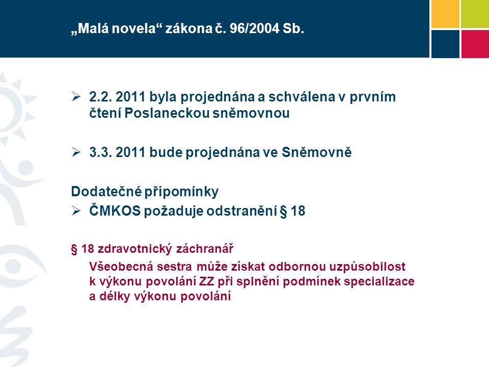 """""""Malá novela"""" zákona č. 96/2004 Sb.  2.2. 2011 byla projednána a schválena v prvním čtení Poslaneckou sněmovnou  3.3. 2011 bude projednána ve Sněmov"""