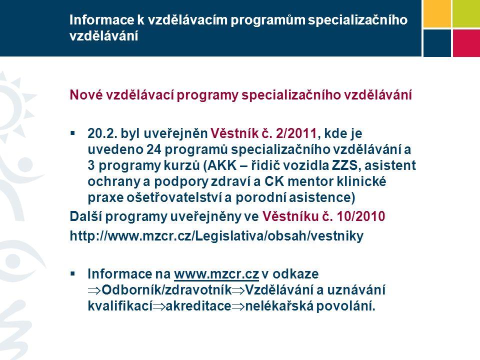 Informace k vzdělávacím programům specializačního vzdělávání Nové vzdělávací programy specializačního vzdělávání  20.2. byl uveřejněn Věstník č. 2/20