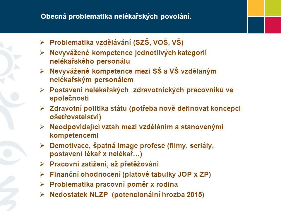 Obecná problematika nelékařských povolání.  Problematika vzdělávání (SZŠ, VOŠ, VŠ)  Nevyvážené kompetence jednotlivých kategorií nelékařského person