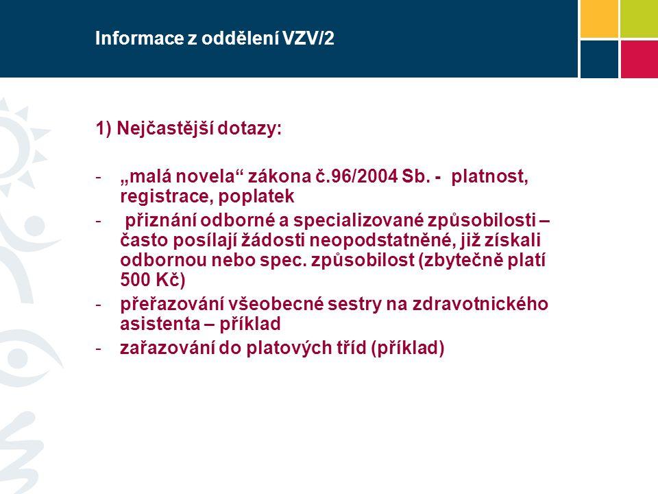"""Informace z oddělení VZV/2 1) Nejčastější dotazy: -""""malá novela"""" zákona č.96/2004 Sb. - platnost, registrace, poplatek - přiznání odborné a specializo"""