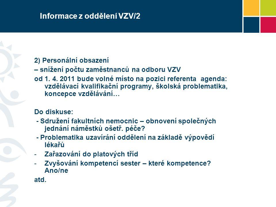 Informace z oddělení VZV/2 2) Personální obsazení – snížení počtu zaměstnanců na odboru VZV od 1. 4. 2011 bude volné místo na pozici referenta agenda: