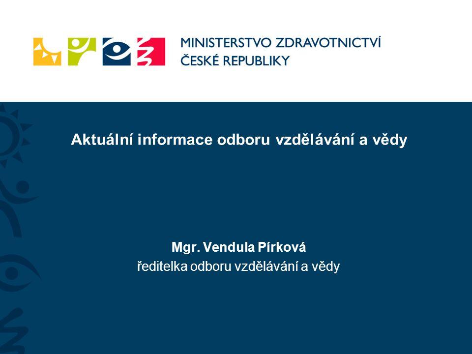 Mgr. Vendula Pírková ředitelka odboru vzdělávání a vědy Aktuální informace odboru vzdělávání a vědy