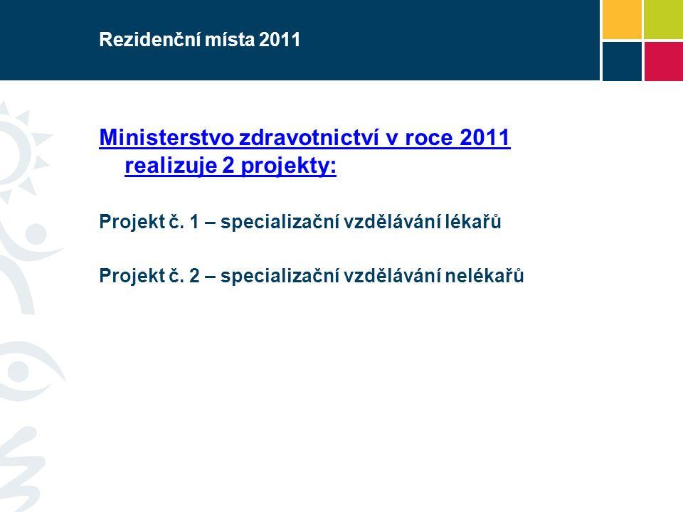 Rezidenční místa 2011 Ministerstvo zdravotnictví v roce 2011 realizuje 2 projekty: Projekt č. 1 – specializační vzdělávání lékařů Projekt č. 2 – speci