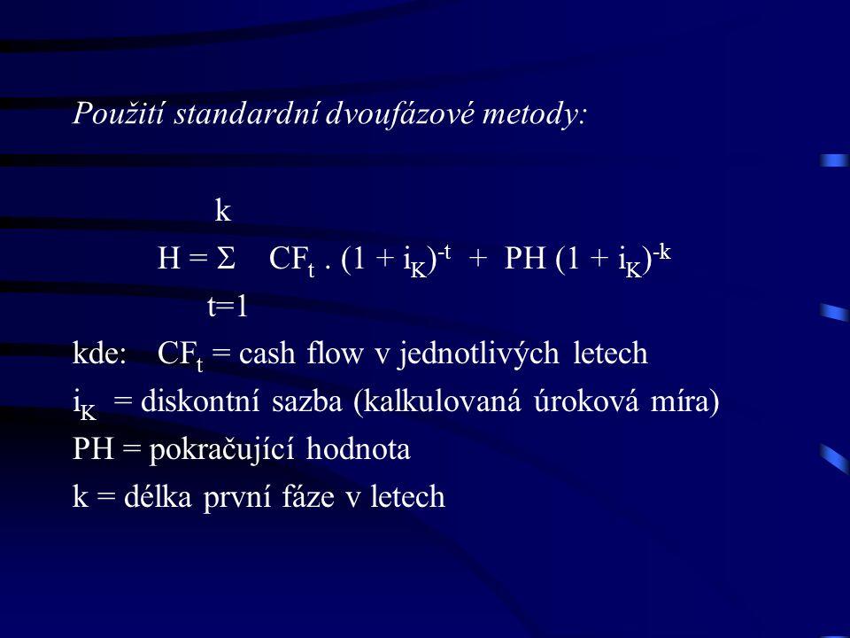 Použití standardní dvoufázové metody: k H =  CF t.