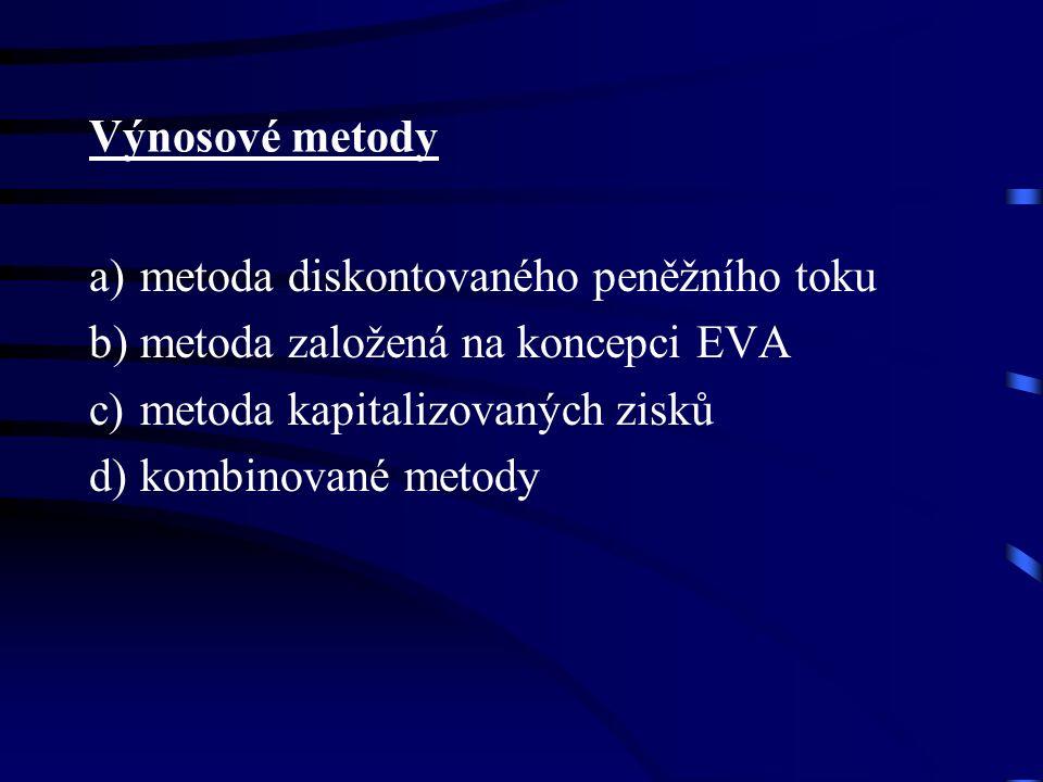 Výnosové metody a) metoda diskontovaného peněžního toku b) metoda založená na koncepci EVA c) metoda kapitalizovaných zisků d) kombinované metody